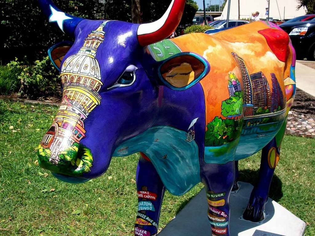 Photo of decorated cow sculpture
